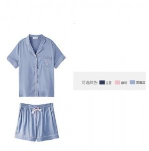 P121 冰絲短袖短褲套裝 /4色/M-L