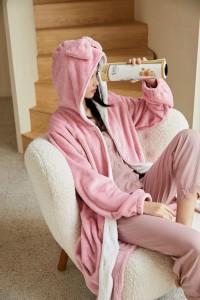 P110 開衫設計睡袍/粉色/M-L